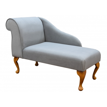 "41"" Mini Chaise Longue in a Grey / Silver Slub Notting Hill Fabric - 16218"