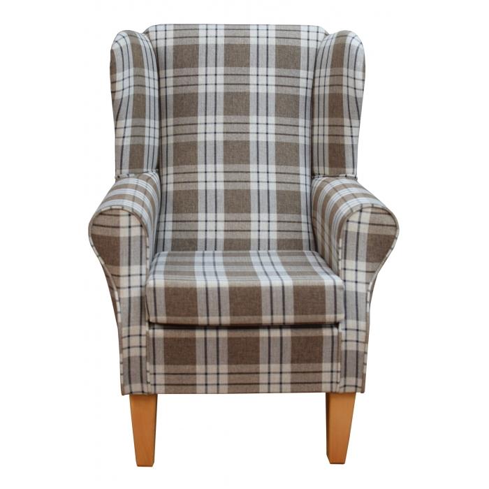 Westoe Chair in a Kintyre Chestnut Tartan Fabric on Tapered Beech Coloured Legs