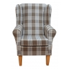 Westoe Chair in a Kintyre Chestnut Tartan Fabric on Tapered Beech Coloured Legs