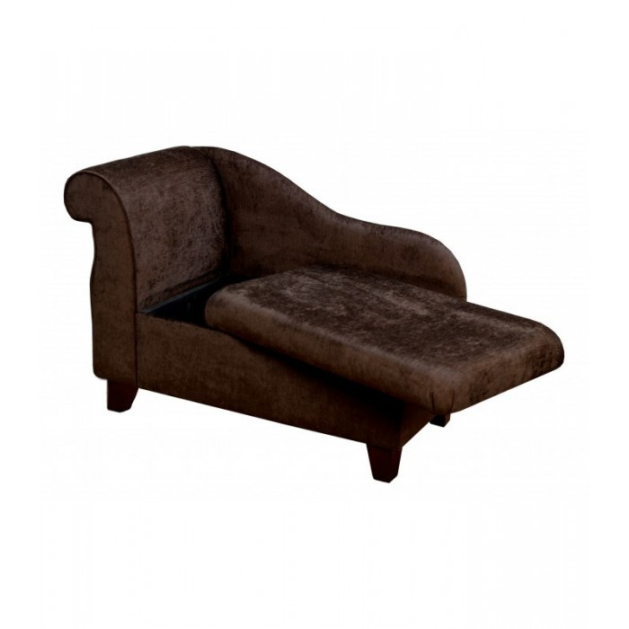 "41"" Storage Chaise Longue in a Pimlico Chocolate Fabric on 4"" Tapered Legs - 16014"