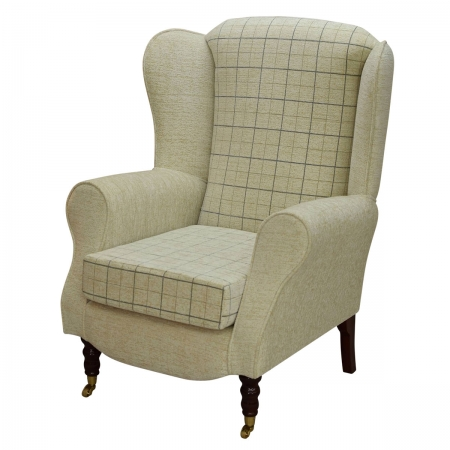 Duchess Wingback Armchair in a Maida Vale Check and...