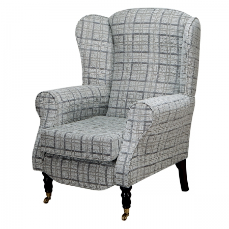Duchess Wingback Armchair in a Maida Vale Grey Check...