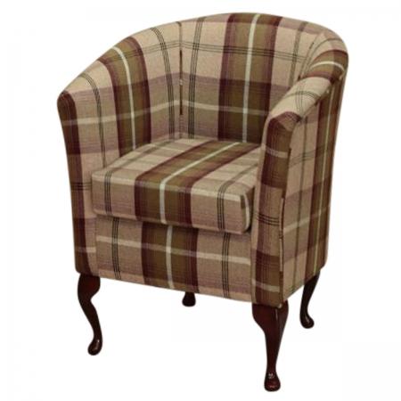 Designer Tub Chair in Balmoral Mulberry Tartan Fabric