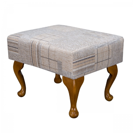 Small Footstool in a Maida Vale Patchwork Stone Fabric
