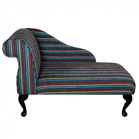 "41"" Mini Chaise Longue in a Fantasia Striped Regiment Fabric - FANT253"