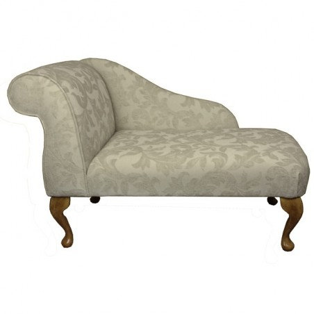 "41"" Mini Chaise Longue in a Pale Cream Fortuna Floral Fabric - FORT102"