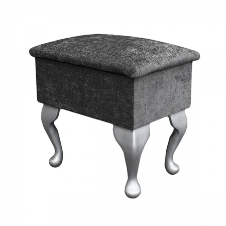 Small Dressing Table Stool in a Presto Charcoal Fabric