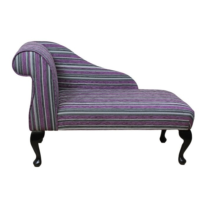 "41"" Mini Chaise Longue in a Diamante Purple / Grey Stripe Fabric - DB17"
