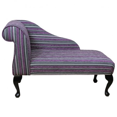 "41"" Mini Chaise Longue in a Diamante Purple / Grey Stripe Fabric"