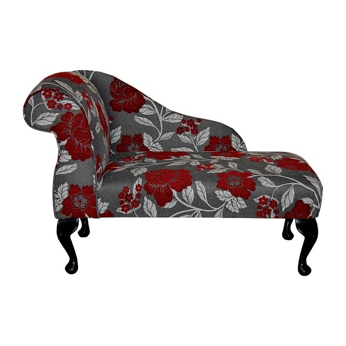 """41"""" Mini Chaise Longue in a Red, Grey and White Floral Chenille Fabric - DB10"""
