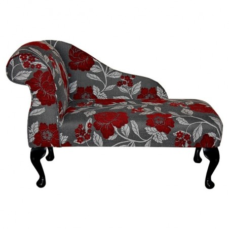 "41"" Mini Chaise Longue in a Red, Grey and White Floral Chenille Fabric"