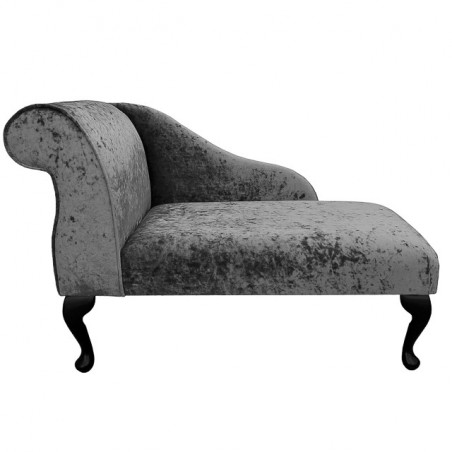 "41"" Mini Chaise Longue in a Senso Pewter / Grey Crushed Velvet Chenille"