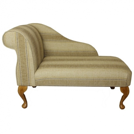 "41"" Mini Chaise Longue in a Striped Wheat Fabric - 16670"