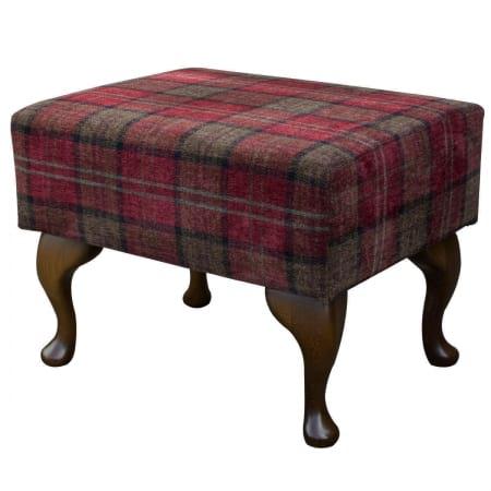 Small Footstool in a Lana Red Tartan Fabric