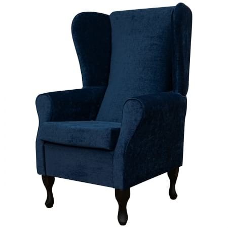 Large Highback Westoe Chair in a Velluto Oxford Blue Fabric