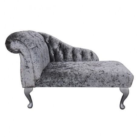 "41"" Buttoned Mini Chaise Longue in a Pewter / Silver Senso Fabric - SENS1184"