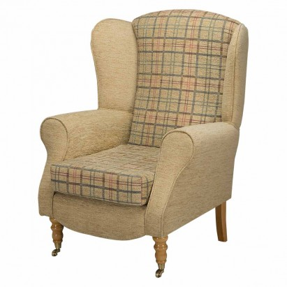Duchess Wingback Armchair in a Maida Vale Plaid Gold...