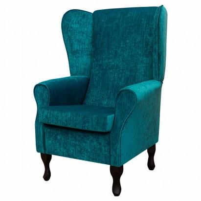 Large Highback Westoe Chair in a Pastiche Slub Teal...