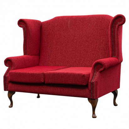 2 Seater Monk Sofa in an Ancona Ruby Red Fabric with...