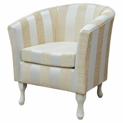 Designer Tub Chair in a Woburn Gold Stripe Fabric