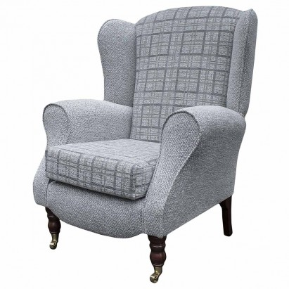 Duchess Wingback Armchair in a Maida Vale Plain and Check Grey Fabric