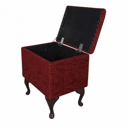 Sewing Box in a Carnaby Flame Red Wine Fabric