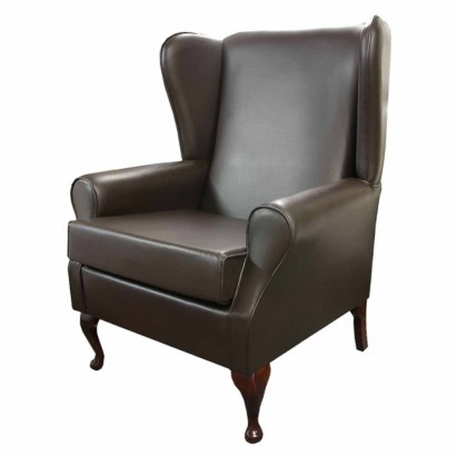 Large High Wingback Fireside Chair in a Genuine...