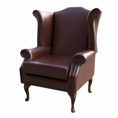 Large Wingback Monk Armchair in a Crib 5 Brown Vinyl