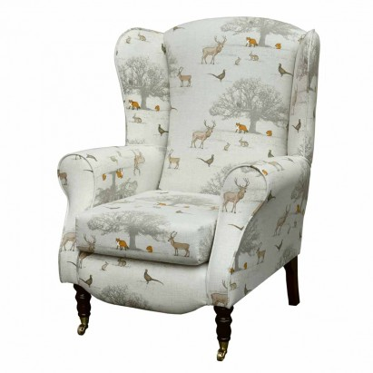 Duchess Wingback Armchair in a Tatton Autumn Print...