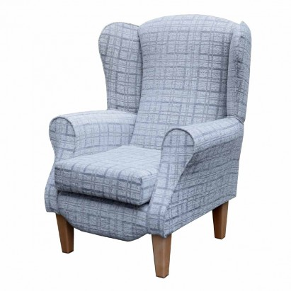 Duchess Wingback Armchair in a Grey Maida Vale Plaid...