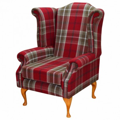 Large Wingback Monk Armchair in a Balmoral Red...