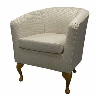 Designer Tub Chair in a Woburn Beige Trellis Fabric