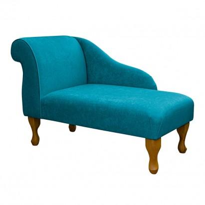 "41"" Mini Chaise Longue in a Plush Light Blue Fabric"