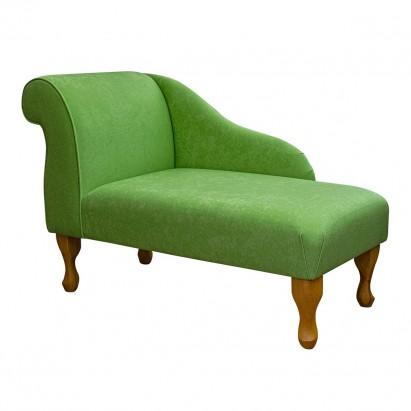 """41"""" Mini Chaise Longue in a Plush Grass Green Fabric"""