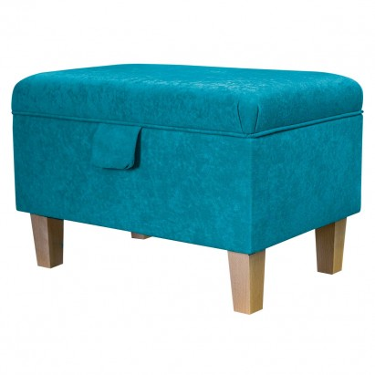 Storage Footstool, Ottoman, Pouffe in a Plush Light...