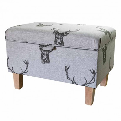 Storage Footstool, Ottoman, Pouffe in a Stag Cotton...