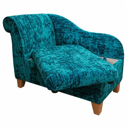 "41"" Storage Chaise Longue in a Jazz Teal Fabric"