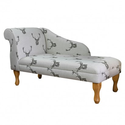 """52"""" Medium Modern Chaise Longue in a Stag Cotton..."""