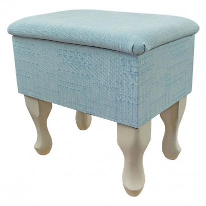 Small Dressing Table Stool in a Harrow Slub Duck Egg...