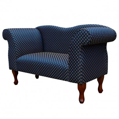Small Chaise Sofa in a Faremont Diamond Navy Fabric