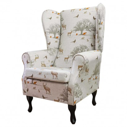 Large Highback Westoe Chair in a Tatton Cotton Fabric