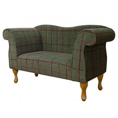 Small Chaise Sofa in a Lana Moss Window Pane Fabric