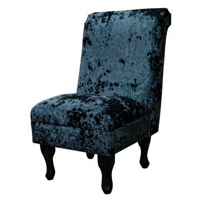 Bedroom Chair in a Lustro Night Crushed Velvet Fabric