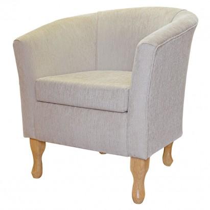 Designer Tub Chair in a Woburn Beige Plain Fabric