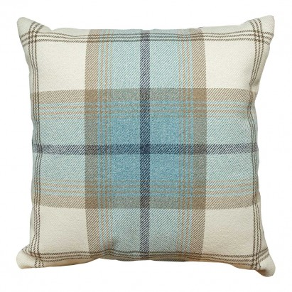 Scatter Cushion in a Balmoral Sky Plaid Tartan Fabric