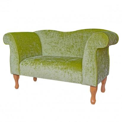 Small Chaise Sofa in a Pastiche Slub Lime Green Fabric