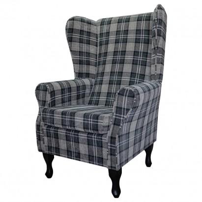 Large Highback Westoe Chair in a Lana Granite Plaid...
