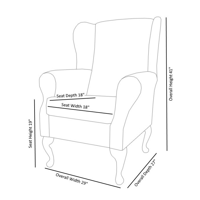 Westoe Wingback Fireside Chair in a Faux Black Leather & Noir Black Jumbo Cord Fabric - 16114