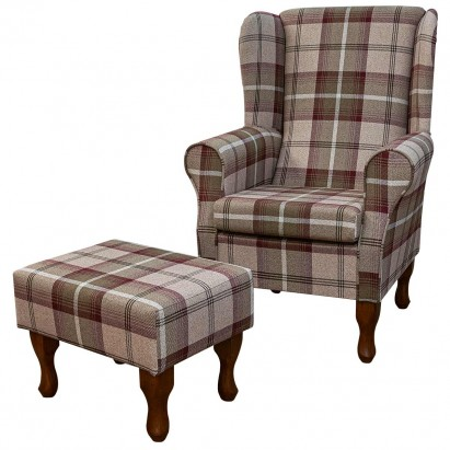 Standard Wingback Fireside Westoe Chair and Matching Footstool in Balmoral Mulberry Tartan Fabric