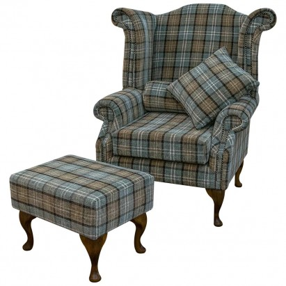 Large Wingback Monk Armchair & Matching Stool in a Blue Lana Tartan Fabric